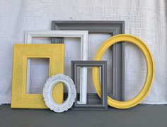 Yellow, Grey White Frames Set of 6 - Upcycled Frames Modern Bedroom Decor Gray, yellow, & white. Grey And Yellow Living Room, Grey Room, Gray Bedroom, Bedroom Yellow, Yellow Couch, Bedroom Colors, Modern Bedroom Decor, Trendy Bedroom, Bedroom Ideas