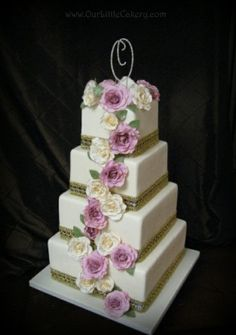 Square wedding cake with cascading sugar roses