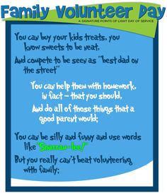 Awesome Seussical Graphic on why you should volunteer as a family from @VolunteerSpot