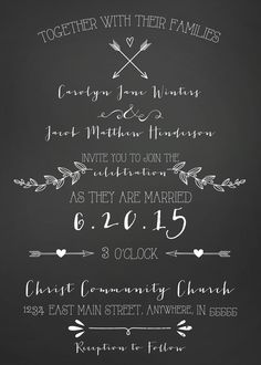 Chalkboard Wedding Invitation http://www.yellowumbrellapaper.co/product/chalkboard-wedding-invitation/