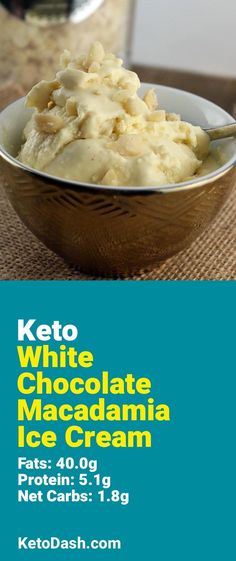 Trying this White Chocolate Macadamia Ice Cream and it is delicious. What a great keto recipe. #keto #ketorecipes #lowcarb #lowcarbrecipes #healthyeating #healthyrecipes #diabeticfriendly #lowcarbdiet #ketodiet #ketogenicdiet