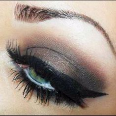 Brown with black winged liner