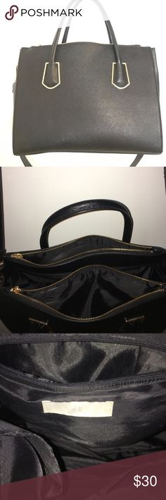 H&M Purse Still in great condition.  Black with gold trim.  Shoulder bag with removable cross body strap.  Two side zipper pockets. H&M Bags Shoulder Bags