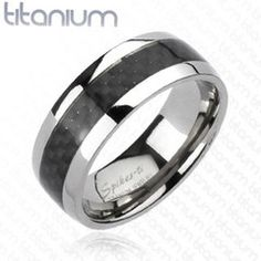 8mm Carbon Fiber Inlay Band Two Tone Ring Solid Titanium