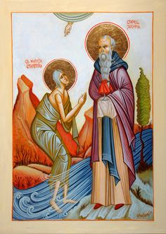 Mary of Egypt & St. Zosimas by Slavica Mihailova Byzantine Icons, Christianity, Egypt, Saints, Religion, Mary, Painting, Fictional Characters, Santos