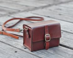 Classy Hand Stitched Tan Brown Leather Camera Case by BySen, $84.00