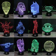 Lampu Star Wars 3D Visual Led Lampu Malam untuk Anak-anak Robot R2-D2 Sentuh USB Meja Lampe Lampara sebagai Selain Bayi Tidur Lampu Malam