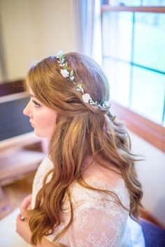 Dainty Flower Crown and Half-Up Hairstyle