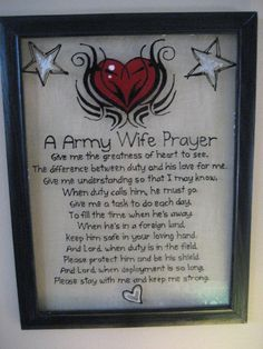 A ARMY Wife Prayer glass art Original hand painted.