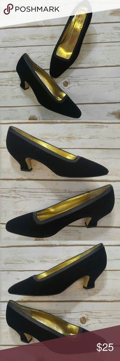 The PM Collection Velvet Kitten Heels The PM Collection Velvet Kitten Heels  Size 8.5 in good used condition. Some good has come off of the inside but exterior is in great condition. Squared toe with soft velvet all around exterior. All Leather Sole. The P. M. Collection Shoes Heels