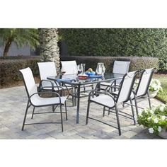 Shop for COSCO Outdoor Living 7-piece Paloma Steel Grey Patio Dining Set with Tempered Glass Table Top. Get free delivery at Overstock.com - Your Online Garden