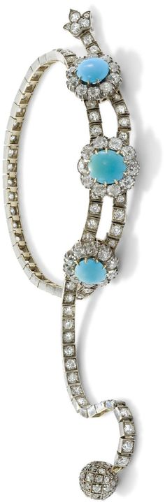 A late 19th century turquoise and diamond bracelet. Of jarretière design, and mounted in silver and gold, the top composed of three circular turquoise and old swiss-cut diamond clusters on an similarly cut diamond flexible line bracelet, one terminal an old-cut diamond ball, the other a trefoil, c. 1890, maximum length 21 cm. Via Phillips.