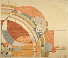 Frank Lloyd Wright , March Balloons. 1955.  Drawing based on a c. 1926 design for Liberty Magazine.  Colored Pencil on Paper, 28 ¼ x 24 ½ in. (71.8 x 62.2 cm).  The Frank Lloyd Wright Foundation Archives (MoMa | Avery Architectural & Fine Arts Library, Columbia University, New York)