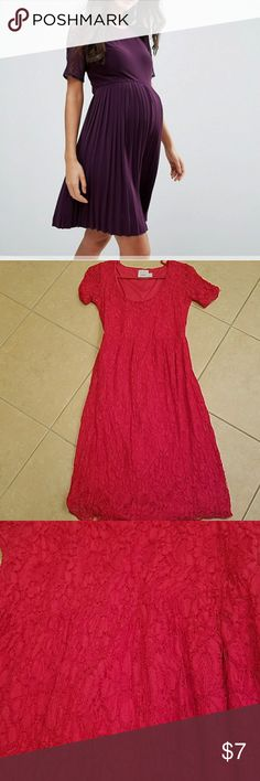 Asos Maternity dress US 4 lace Asos Maternity dress. Lace design. Sleeves are unlined. Fits similar to the dress in the first photo. Good condition but worn a lot. Priced accordingly. US size 4. ASOS Maternity Dresses Midi