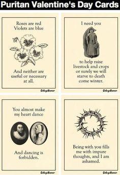Puritan Valentine's Day Cards