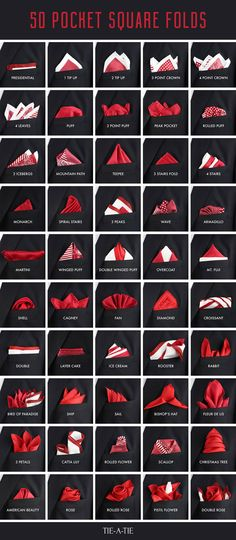 """bows-n-ties: """" The 50 pocket square folds you need to know. """""""