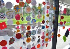 Dot drawings & collages on International Dot Day at The Eric Carle Museum  - lovely way to display art work