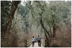 Winter engagement photos at North Woods Park in Hillsboro.
