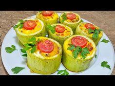 Dovlecei umpluţi la cuptor, un aperitiv rapid şi sănătos | Danutax - YouTube Romanian Food, Avocado Egg, Food Videos, Sushi, Food And Drink, Cooking, Breakfast, Ethnic Recipes, Youtube
