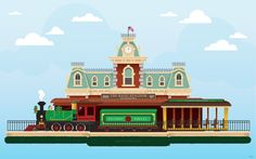 Trains were one of Walt Disney's passions. In preparation for this weekend's anniversary of Magic Kingdom Park, Disney artist Candy Field wanted to honor that passion with a custom illustration of the Walt Disney World Railroad train All Disney Parks, Disney Cruise Line, Disney Films, Disney Fun, Disney Trips, Walt Disney World, Disney Stuff, Train Cartoon, Disney Artists