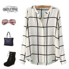 Cheap Venta 2015 resorte y verano camisas de tela escocesa mujeres Streetwear de rayón viscosa de señora Tartan blusa blanco y negro cheque Tops grande L, Compro Calidad Blusas y Camisas directamente de los surtidores de China: