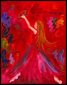 Prophetic dance. Prophetic Art painting in red of girl praising the Lord in dance. So pretty!