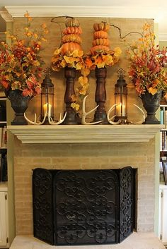 DIY Fall Mantel Decor Ideas to Inspire! Do it Yourself Masculine Fall Mantel with Lanterns, Antlers and Pumpkins Inspiration Home Decor Ideas for Autumn via Miss Kopy Kat Decoration Christmas, Fall Mantel Decorations, Thanksgiving Decorations, Seasonal Decor, Holiday Decor, Mantel Ideas, Thanksgiving Mantle, Fall Home Decor, Autumn Home