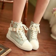 Womens Canvas Metal Decor Lace Up Sneakers Mixed Color Soprt Shoes Korean  A423. Telitalpú Cipők b129d6437c