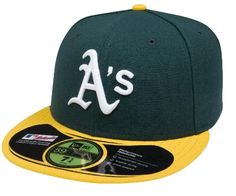 MLB Oakland Athletics Authentic On Field Game 59FIFTY Cap, 7 5/8, Green/Yellow