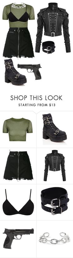 """Warrior"" by kiarametalhead ❤ liked on Polyvore featuring Topshop, Current Mood, County Of Milan, Helmut Lang, Smith & Wesson and Jennifer Fisher"
