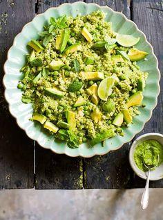 Quinoa, Avocado, Peas and Pistachio Salad With Pesto