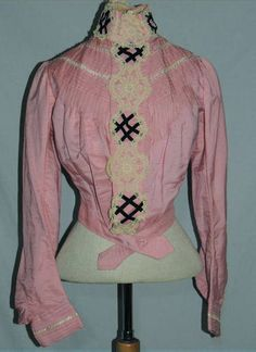 Victorian Bright Pink Silk Bodice w Lace SM B 37 | eBay  @Sarah Lizzie  Here are those hash marks again!!