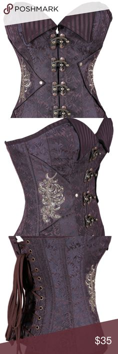 Authentic Steel Boned Steampunk Overbust Corset Sweetheart Overbust pattern perfect for medium & short torso female  A very Sophisticated designed Polyester Brocade in Coffee Color to feel of that steam era. Every Item well and individually handled by a creative manpower. totally handmade item to feel you so special on every occasions of your desire.  Never been worn!  Handmade item Materials: Polyester Brocade, Brass Metal Accessories, Soft Cotton Lining, Floral Motif Size:US 28 (For Wst…