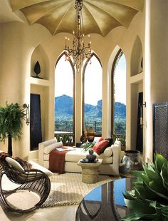 Lounge Room in the Paradise Valley Mansion mediterranean bedroom