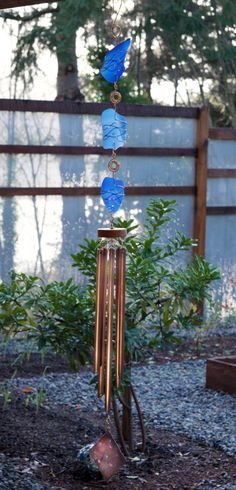 Windchime Sea Glass with Large Copper Chimes Wind Chime