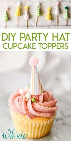 Easy and adorable miniature party hat cupcake toppers made from scrapbook paper and pom poms