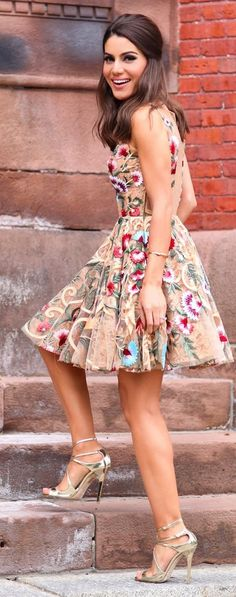 Fashion trends | Floral embroidered dress, metallic heels