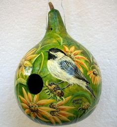 Handpainted Gourd Birdhouse Chickadee on by SharonsCustomArtwork Hand Painted Gourds, Decorative Gourds, Gourds Birdhouse, Gourd Art, Butterfly Flowers, Art Festival, Beautiful Artwork, Bird Houses, Bird Feeders