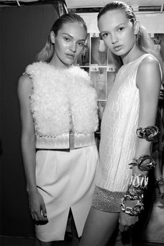 Backstage at Giambattista Vali - S/S 2012  Models: Candice Swanepoel  Romee Strijd