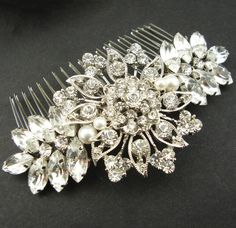 Vintage Style Bridal Hair Comb Wedding Hair Comb by luxedeluxe
