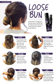 Get the perfect loose bun with BOOST IT High Lift Creation Spray and BOOST IT Volume Inject Mousse. Follow the steps above to get the perfect look for work or a night out.
