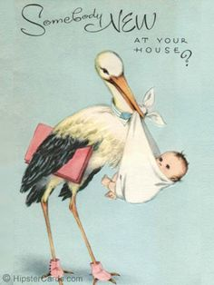 ❥ sweet vintage baby card~ Stork Delivery