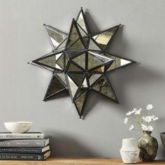 Star Mirror Wall Decor three hands mercury glass mirror star metal wall art | accessories