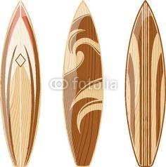 Vinilo vector de tablas de surf de madera