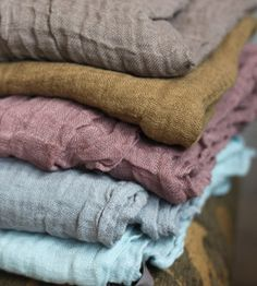 French Linen Scarves - gray, mustard, mauve, heather blue - the perfect palette - look for it in the Litany Jewelry Designs spring collection! Textiles, Design Textile, Linens And Lace, Looks Vintage, Soft Summer, Fabulous Fabrics, Color Stories, Linen Fabric, Color Inspiration