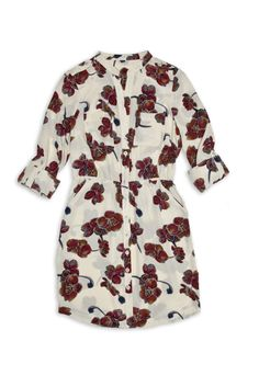 Cream dress with burgundy floral print. So pretty! Shirtdress, Elastic Waist, Burgundy, Floral Prints, Style Inspiration, My Style, Pretty, Clothes, Dresses