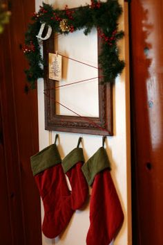 Without a mantle, a piano or stairs what's a girl to do?? Get creative of course!   Lindsay wanted a place to hang her stockings and display...