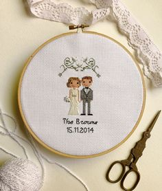 Custom Cross Stitch Wedding Portrait Cotton Anniversary