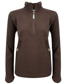 Brown LADIES-LONG-SLEEVE-HALF-ZIP-FLEECE-WOMENS