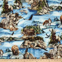 North American Wildlife 3 Animal Collage Nature from @fabricdotcom  Designed by Jody Bergsma for Robert Kaufman, this cotton print is perfect for quilting, apparel and home decor accents.  Colors include rust, green, blue, white, brown, and black.